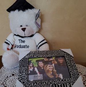 Graduate teddy bear with frame